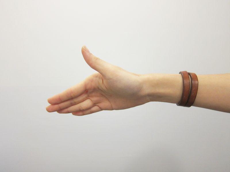 動作2:(右手)大拇指朝右以順時針方向慢慢旋轉,慢慢地回復到原來的位置