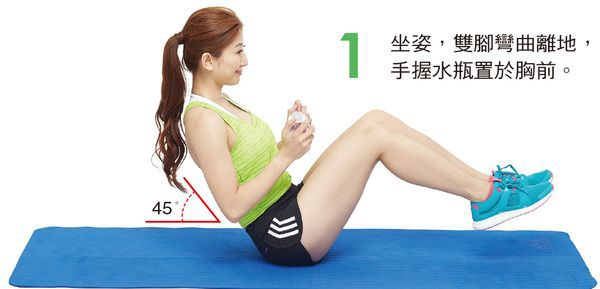 身體呈坐姿,注意臀部夾緊、背部打直、頸部放輕鬆,雙腳離地抬起,身體穩定不歪斜,雙手握水瓶